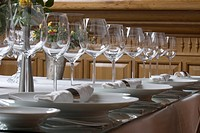 An elegantly set dining table, close up