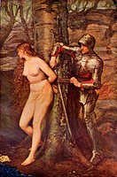 A knight-errant  Figure of medieval chivalric romance literature  Coloured illustration after the painting by Sir J E Millais from the book Romance an...