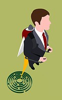 A businessman rocketing out of a maze