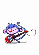 A monkey playing an electric guitar