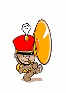A bear wearing a marching band hat and playing a tuba