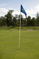 Golf flag on a putting green