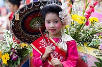 Thailand, Chiang Mai, Portrait of Girl in Traditional Thai Costume, the Chiang Mai Flower Festival, Asia, Northern Thailand, Chiang Mai Flower Festiva...