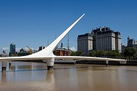 Argentina, Südamerika, Amerika, March 2008, Buenos Aires, city, Puerto Madero District, Puente de la Mujer, Santiago Calatrava, high_rise buildings, m...