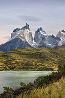 Chile, South America, March 2009, Chilean Patagonia, Torres del Paine National Park, landscape, scenery, nature, mountains, Cuernos del Paine, Lake Pe...