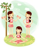 Girls doing exercise in garden
