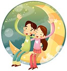 Girl and boy sitting on moon