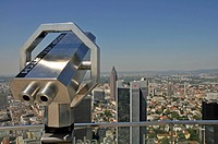 Blick auf Messeturm und das Bankenviertel, Frankfurt am Main, Hessen, Deutschland, Europa