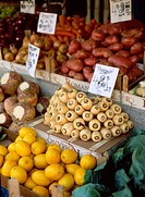 Fruit and vegetables on sale at the weekly market in Northampton, United Kingdom