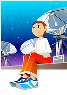 Boy sitting on wall, satellite dish in the background