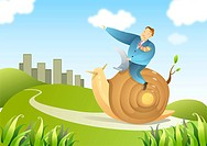 Businessman riding on snail to city
