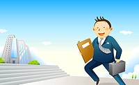 Businessman running with file and briefcase