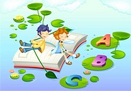Children on book floating in water