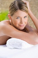 Portrait of young woman at health spa