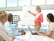 Businesswoman using chart for business presentation with colleagues