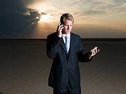 Businessman making a telephone call in the desert
