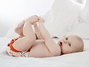 A baby playing with her feet Sweden.