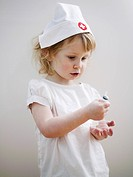 A girl pretending to be a doctor Sweden.