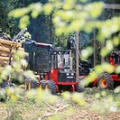 Tractor arranging wooden logs