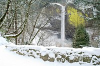Latourell Falls in winter, Columbia River Gorge, Oregon, USA