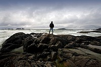 Chesterman Beach, Tofino, Vancouver Island, British Columbia, Canada, man standing on the beach