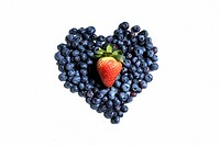 Blueberries and a strawberry shaped like a heart