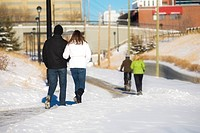 Edmonton, Alberta, Canada, Two couples walking on a path