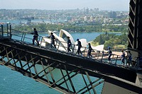 A group on the Sydney Harbour Bridge climb  Sydney, New South Wales, Australia