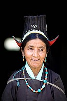 Ladakh, Jammu and Kashmir, India, Portrait of woman in traditional clothing
