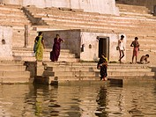 The River Ganges,Varanasi,India,People bathing by the Ganges