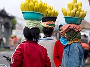 Women carrying bowls of corn on heads