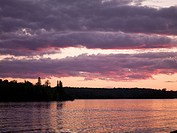 Lake of the Woods, Ontario, Canada, Sunrise over lake