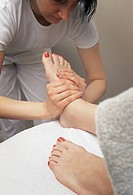 Woman receiving a foot massage