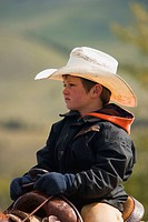 A young cowboy on cattle round up in Southern Alberta Canada