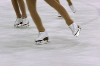 Girls with figure skates