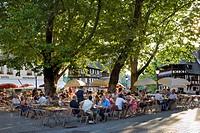 People in a cafe, Petite France, Strasbourg, Alsace, France