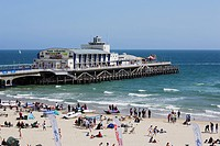 Beach and pier with Pier Theatre, Bournemouth, Dorset, England, United Kingdom