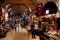 Interior view of the Grand Bazaar, Kapali Carsi, Istanbul, Turkey, Europe