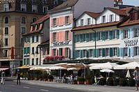 Sidewalk cafes at promenade, Ouchy, Lausanne, Canton of Vaud, Switzerland