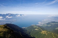 View from Rochers de Naye Montreux und lake Geneva, Canton of Vaud, Switzerland