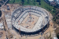 Aerial photo of stadium construction for FIFA 2010 Football World Cup, Status December 2008, Cape Town, Western Cape, South Africa
