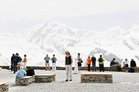 Tourists admiring the view, viewpoint, Mountain landschaft, Valais, Switzerland