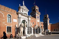 Entrance to the Arsenal, Arsenale di Venezia, former wharf of Venice, in 16th century the largest wharf in the world. Built by Antonio Gambello, Venic...