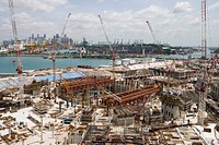Construction in the City of Cranes, view from Sentosa Island, Singapore, Asia