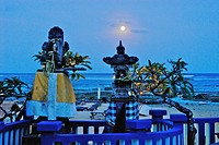 View at a shrine on the coast at full moon, Pura Geger, Southern Bali, Indonesia, Asia