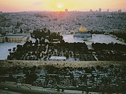 Aerial photograph of the Dome of the rock in the old city of Jerusalem at sunset