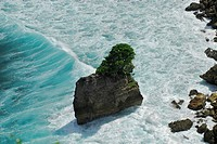 Rocky island with tree in the surf at Pura Luhur Uluwatu, South Bali, Indonesia, Asia
