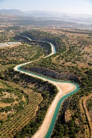 Aerial photograph of the National water carrier in the lower Galilee