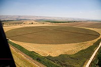 Aerial photograph of plowed fields in the Upper Galilee