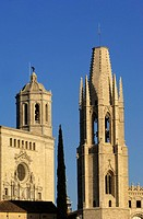 Belltower of Sant Feliu church and cathedral in background, Girona. Catalonia, Spain